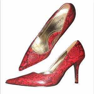 Size 6.5 Red Snakeskin Point Toe Stilettos